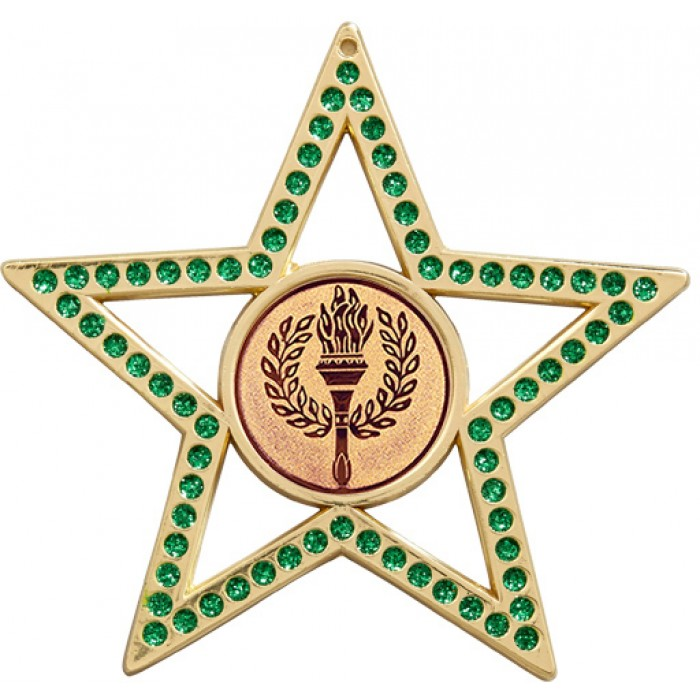 75MM GREEN STAR MEDAL - VICTORY TORCH - GOLD, SILVER, BRONZE